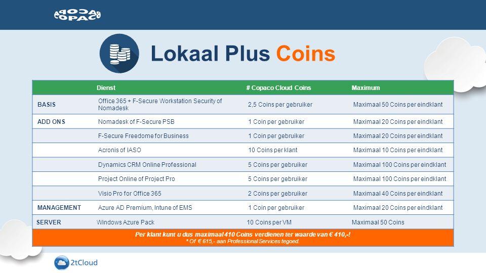 Lokaal Plus Coins Dienst# Copaco Cloud CoinsMaximum BASIS Office 365 + F-Secure Workstation Security of Nomadesk 2,5 Coins per gebruikerMaximaal 50 Co