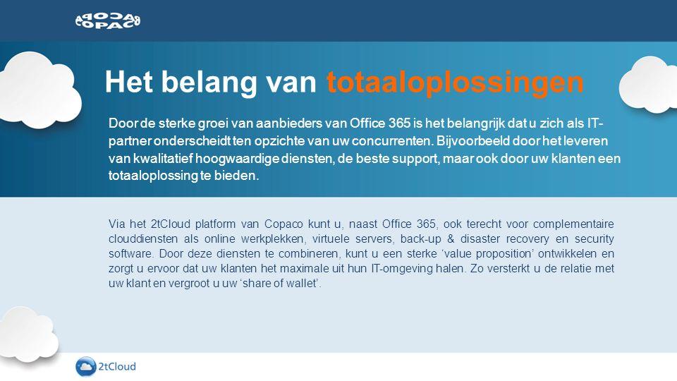 Het belang van totaaloplossingen Door de sterke groei van aanbieders van Office 365 is het belangrijk dat u zich als IT- partner onderscheidt ten opzi