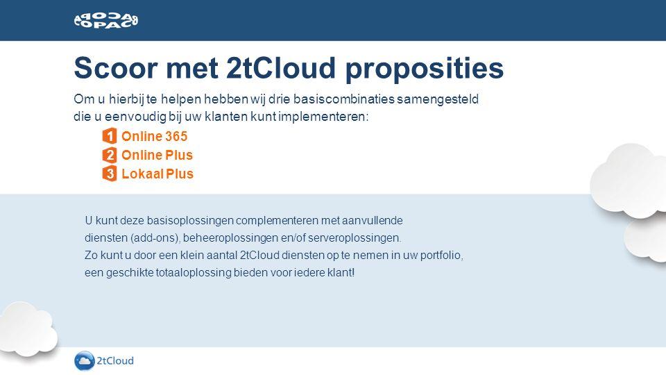Scoor met 2tCloud proposities U kunt deze basisoplossingen complementeren met aanvullende diensten (add-ons), beheeroplossingen en/of serveroplossinge