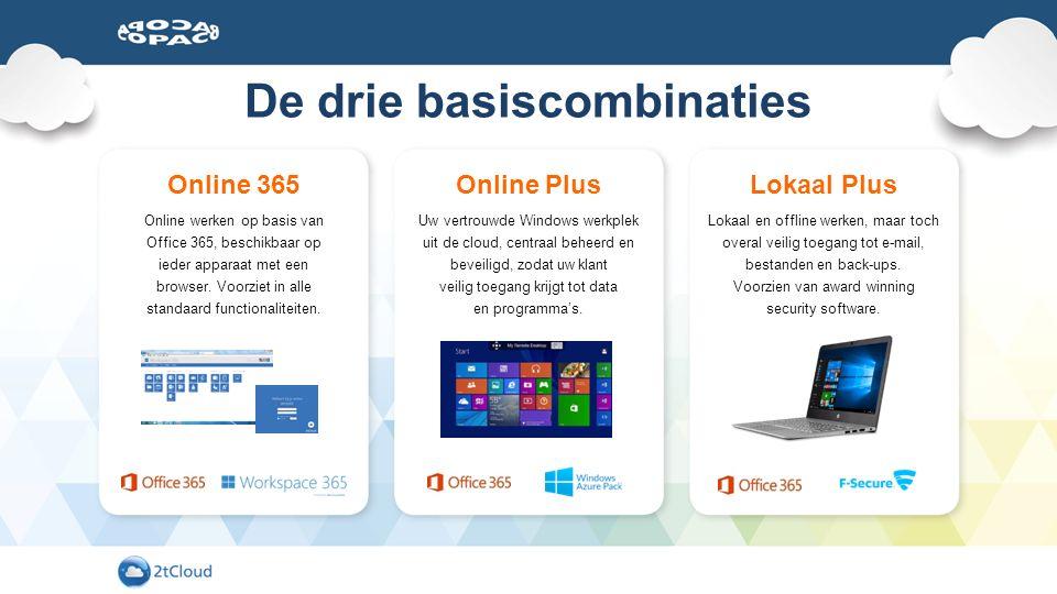 De drie basiscombinaties Online 365 Online werken op basis van Office 365, beschikbaar op ieder apparaat met een browser. Voorziet in alle standaard f