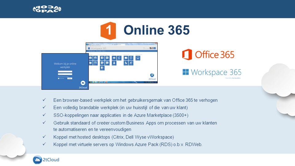 Een browser-based werkplek om het gebruikersgemak van Office 365 te verhogen Een volledig brandable werkplek (in uw huisstijl of die van uw klant) SSO
