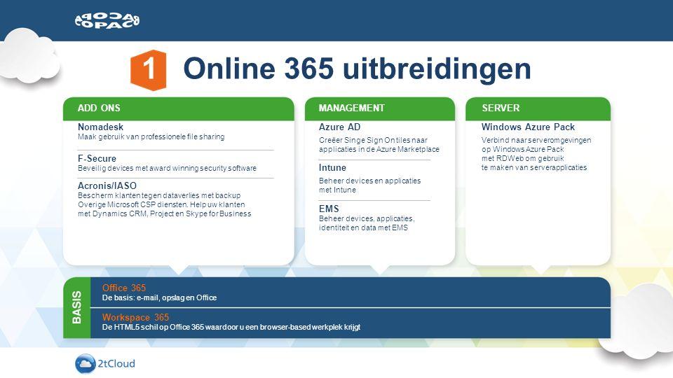 Office 365 De basis: e-mail, opslag en Office Workspace 365 De HTML5 schil op Office 365 waardoor u een browser-based werkplek krijgt ADD ONS Nomadesk