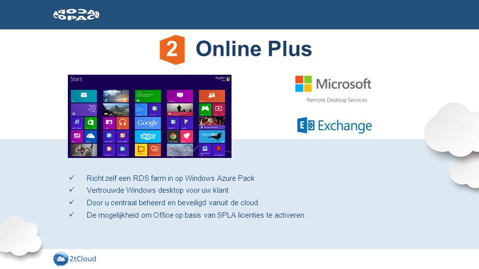 Exchange Online of Hosted Exchange E-mail Windows Azure Pack Richt zelf uw RDS farm in op ons IaaS-platform ADD ONS F-Secure Beveilig uw servers en RDS sessies met award winning security software Acronis/IASO Bescherm klanten tegen dataverlies met back-up Overige Microsoft CSP diensten Help uw klanten met Dynamics CRM, Project en Skype for Business MANAGEMENT Azure AD Premium Biedt uw klant MFA, SSO naar SaaS-applicaties en de mogelijkheid om zelf wachtwoorden te resetten Intune Beheer devices en applicaties met Intune EMS Beheer devices, applicaties, identiteit en data met EMS 2 Online Plus uitbreidingen