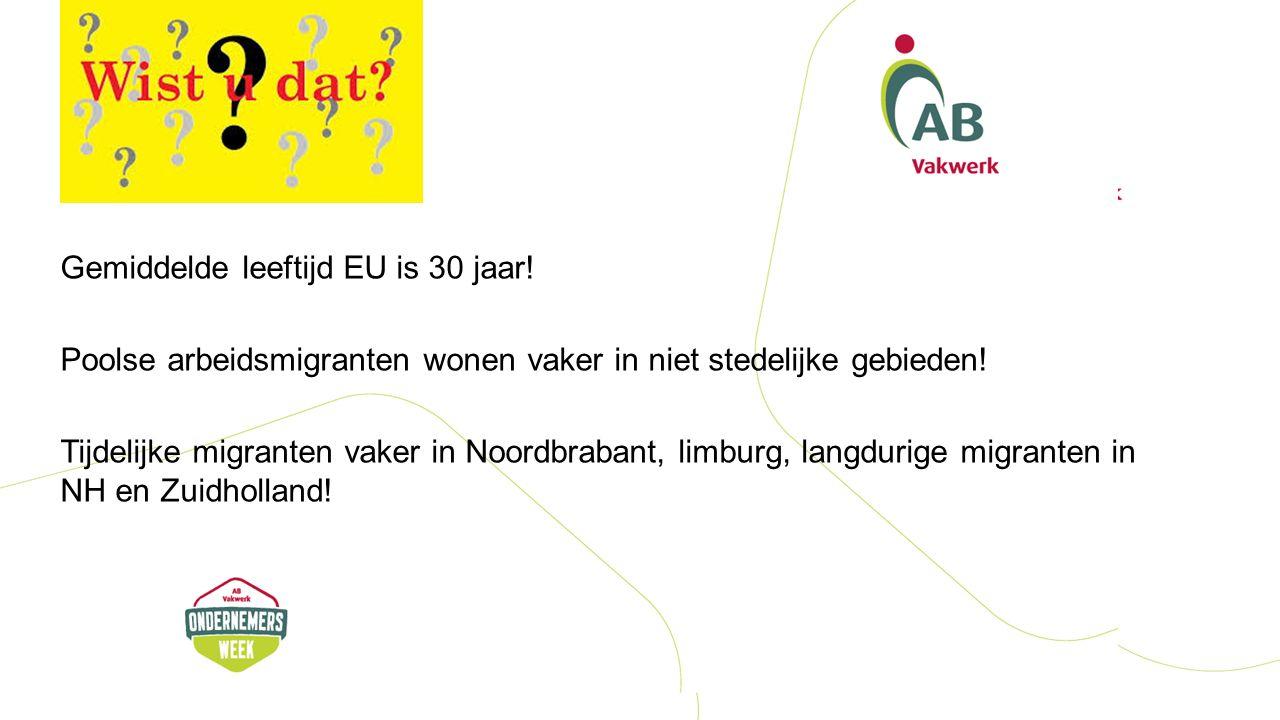 Gemiddelde leeftijd EU is 30 jaar.Poolse arbeidsmigranten wonen vaker in niet stedelijke gebieden.