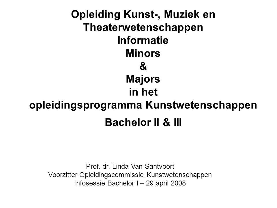Opleiding Kunst-, Muziek en Theaterwetenschappen Informatie Minors & Majors in het opleidingsprogramma Kunstwetenschappen Bachelor II & III Prof.