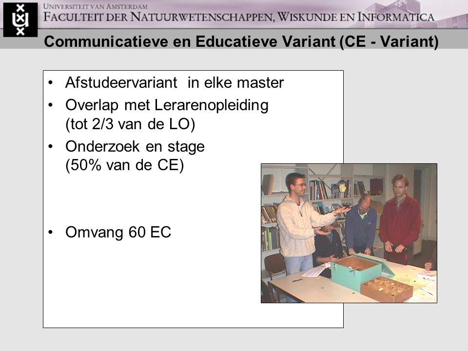 Communicatieve en Educatieve Variant (CE - Variant) Afstudeervariant in elke master Overlap met Lerarenopleiding (tot 2/3 van de LO) Onderzoek en stage (50% van de CE) Omvang 60 EC