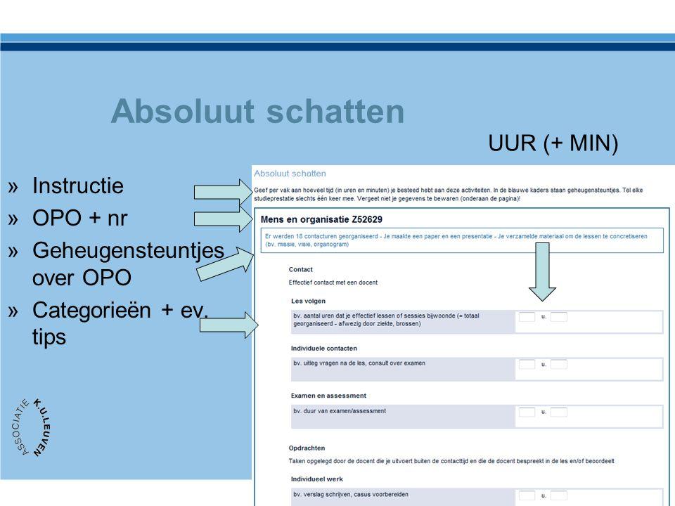 Absoluut schatten »Instructie »OPO + nr »Geheugensteuntjes over OPO »Categorieën + ev.