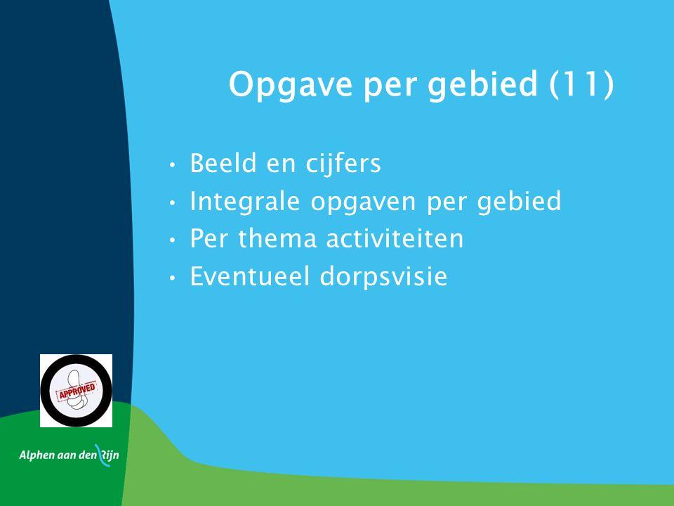 Opgave per gebied (11) Beeld en cijfers Integrale opgaven per gebied Per thema activiteiten Eventueel dorpsvisie