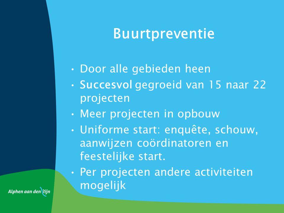 Buurtpreventie Door alle gebieden heen Succesvol gegroeid van 15 naar 22 projecten Meer projecten in opbouw Uniforme start: enquête, schouw, aanwijzen coördinatoren en feestelijke start.