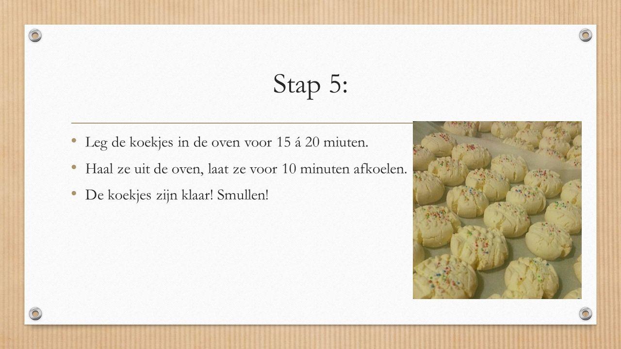 Stap 5: Leg de koekjes in de oven voor 15 á 20 miuten.