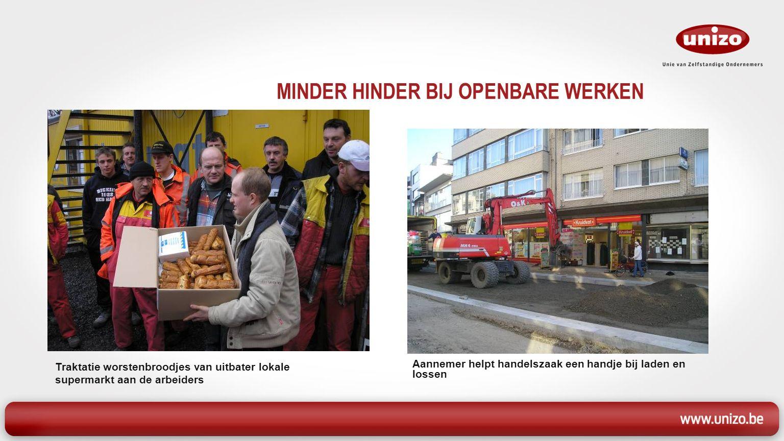 MINDER HINDER BIJ OPENBARE WERKEN Traktatie worstenbroodjes van uitbater lokale supermarkt aan de arbeiders Aannemer helpt handelszaak een handje bij laden en lossen
