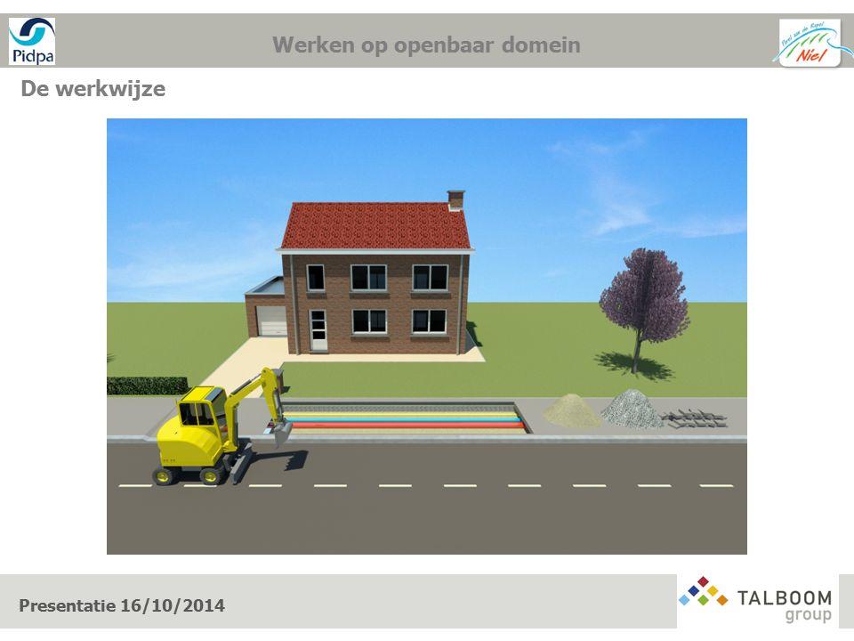 De werkwijze 1. Werken op openbaar domein Presentatie 16/10/2014 Werken op openbaar domein
