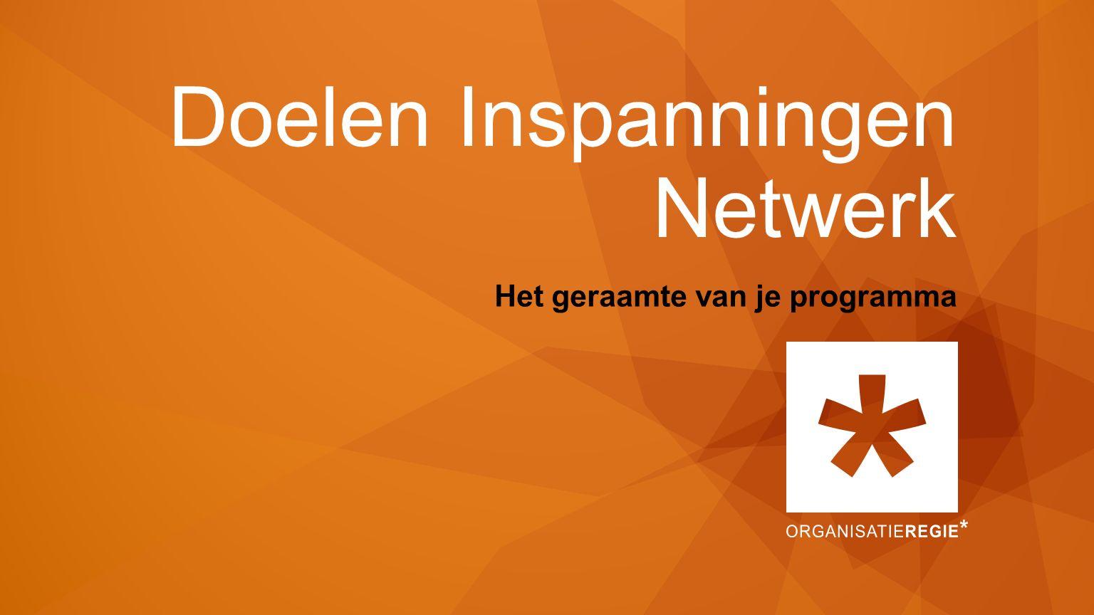 Doelen Inspanningen Netwerk Het geraamte van je programma