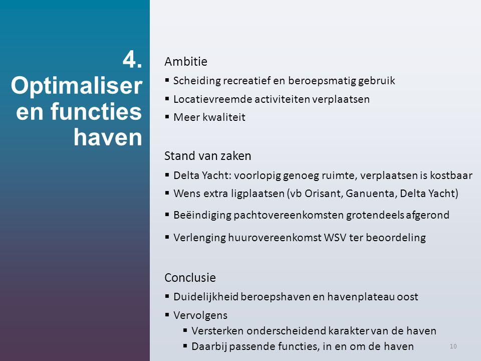 4. Optimaliser en functies haven 10 Ambitie  Scheiding recreatief en beroepsmatig gebruik  Locatievreemde activiteiten verplaatsen  Meer kwaliteit