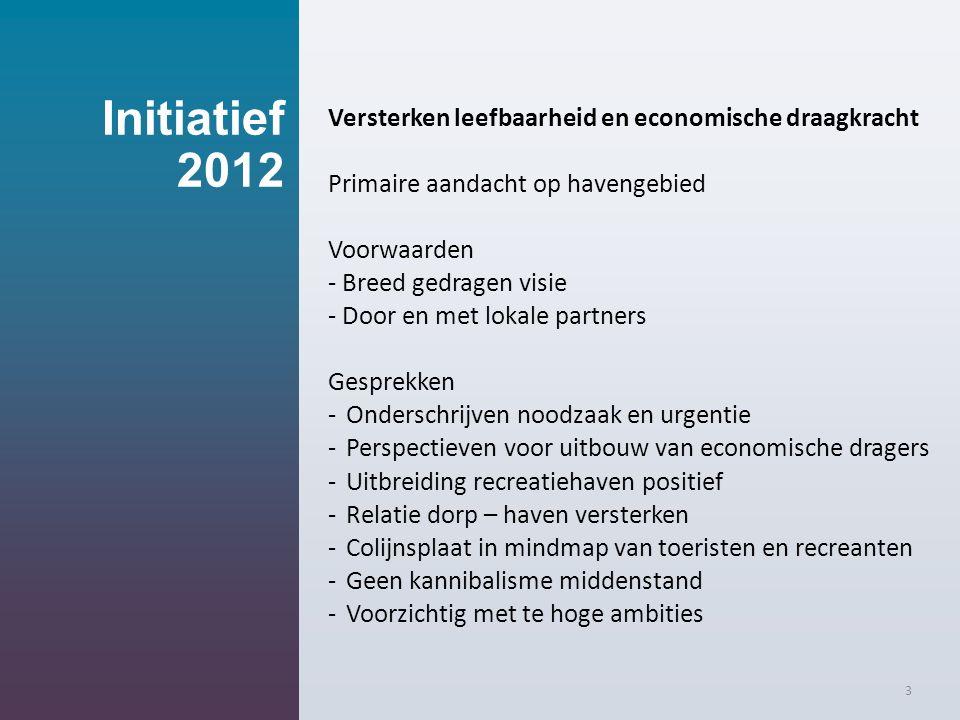 Initiatief 2012 Versterken leefbaarheid en economische draagkracht Primaire aandacht op havengebied Voorwaarden - Breed gedragen visie - Door en met l