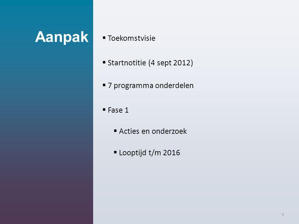 Aanpak  Toekomstvisie  Startnotitie (4 sept 2012)  7 programma onderdelen  Fase 1  Acties en onderzoek  Looptijd t/m 2016 5