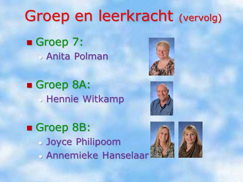 Groep en leerkracht (vervolg) Groep 4: Groep 4: ● Jasmijn Alflen ● Arianne Gerritsen Groep 5: Groep 5: ● Renée van Dorth ● Evelien Janssen Groep 6: Gr