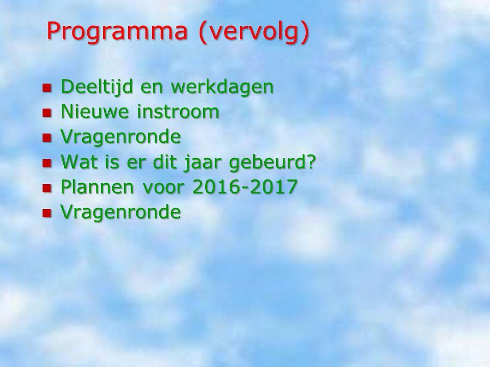 Programma Voortraject Voortraject Uitgangspunten voor de formatie Uitgangspunten voor de formatie Inkomsten/verplichtingen Inkomsten/verplichtingen Gr
