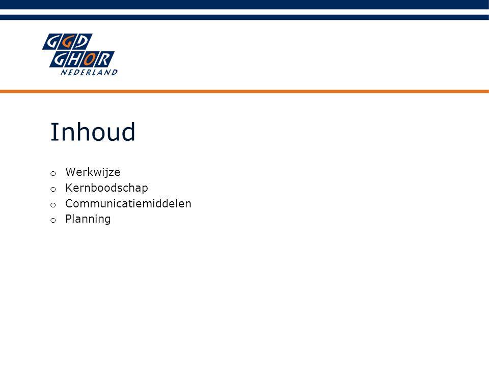 Inhoud o Werkwijze o Kernboodschap o Communicatiemiddelen o Planning
