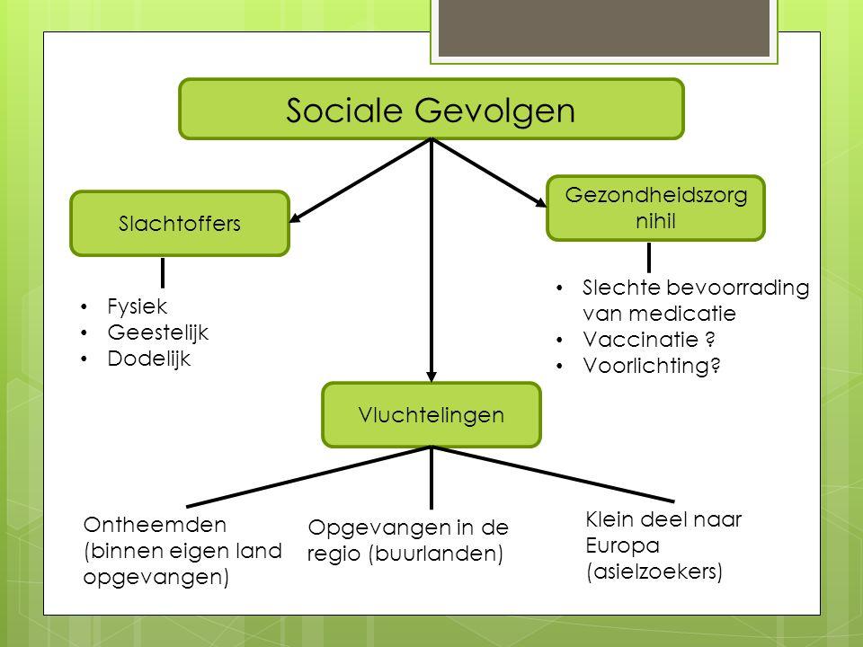 Gezondheidszorg nihil Sociale Gevolgen Slachtoffers Fysiek Geestelijk Dodelijk Slechte bevoorrading van medicatie Vaccinatie .
