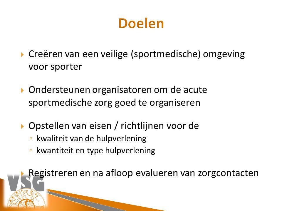  Creëren van een veilige (sportmedische) omgeving voor sporter  Ondersteunen organisatoren om de acute sportmedische zorg goed te organiseren  Opst