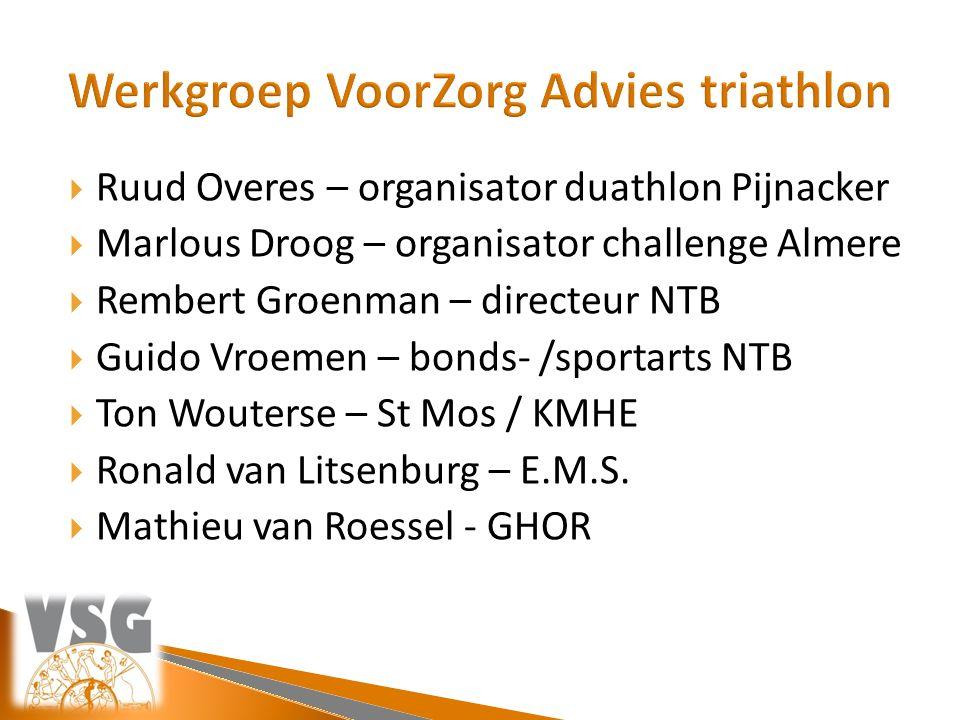  Ruud Overes – organisator duathlon Pijnacker  Marlous Droog – organisator challenge Almere  Rembert Groenman – directeur NTB  Guido Vroemen – bon