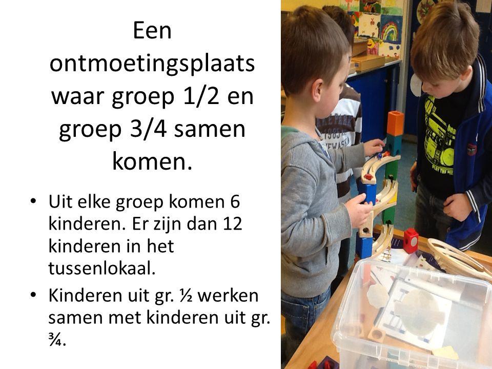 Kinderen werken onder begeleiding van student, klassenassistent.
