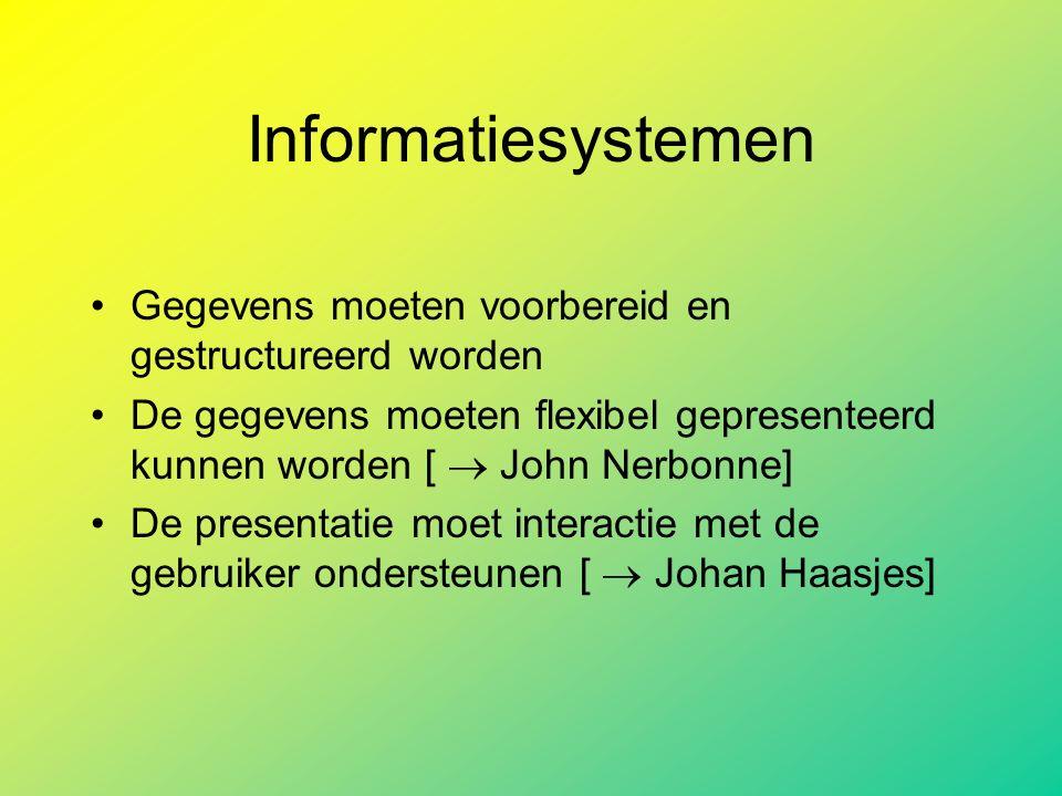 Informatiesystemen Gegevens moeten voorbereid en gestructureerd worden De gegevens moeten flexibel gepresenteerd kunnen worden [  John Nerbonne] De presentatie moet interactie met de gebruiker ondersteunen [  Johan Haasjes]