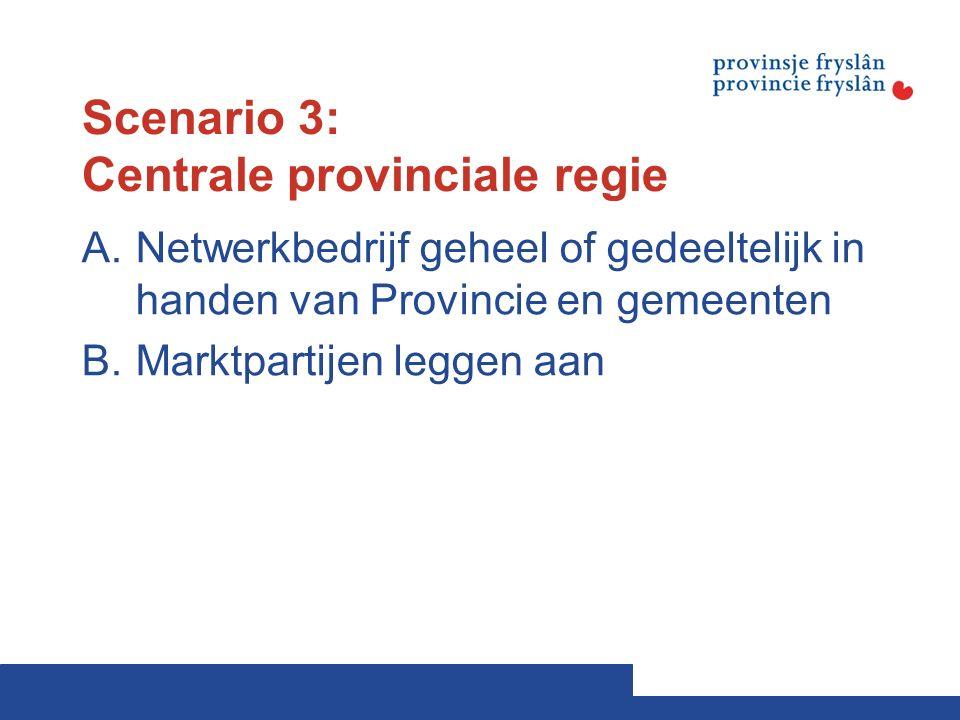 Scenario 3: Centrale provinciale regie A.Netwerkbedrijf geheel of gedeeltelijk in handen van Provincie en gemeenten B.Marktpartijen leggen aan