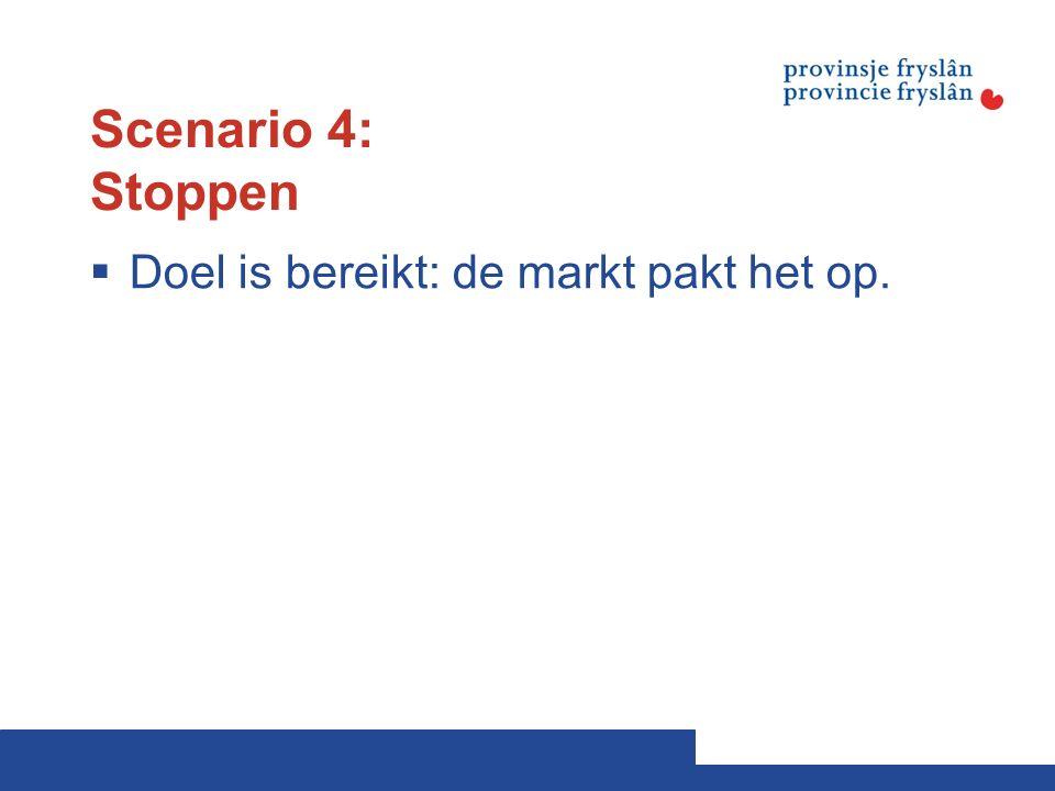 Scenario 4: Stoppen  Doel is bereikt: de markt pakt het op.