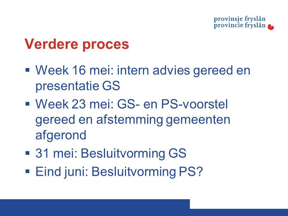 Verdere proces  Week 16 mei: intern advies gereed en presentatie GS  Week 23 mei: GS- en PS-voorstel gereed en afstemming gemeenten afgerond  31 mei: Besluitvorming GS  Eind juni: Besluitvorming PS