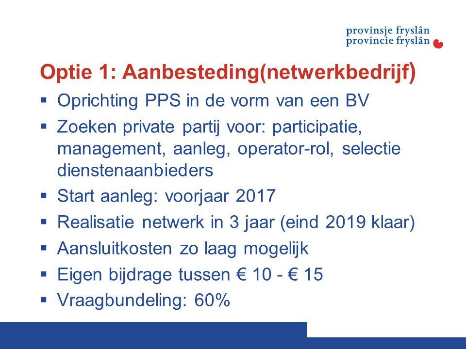 Optie 1: Aanbesteding(netwerkbedrijf )  Oprichting PPS in de vorm van een BV  Zoeken private partij voor: participatie, management, aanleg, operator-rol, selectie dienstenaanbieders  Start aanleg: voorjaar 2017  Realisatie netwerk in 3 jaar (eind 2019 klaar)  Aansluitkosten zo laag mogelijk  Eigen bijdrage tussen € 10 - € 15  Vraagbundeling: 60%