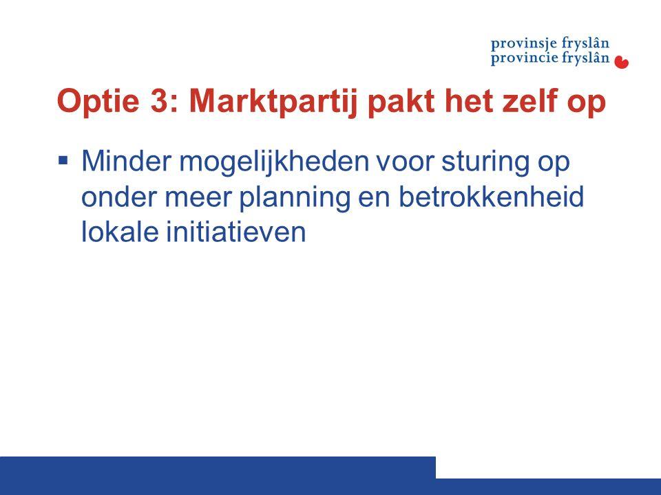 Optie 3: Marktpartij pakt het zelf op  Minder mogelijkheden voor sturing op onder meer planning en betrokkenheid lokale initiatieven