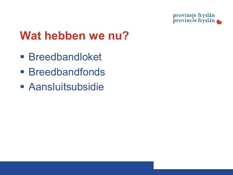 Wat hebben we nu  Breedbandloket  Breedbandfonds  Aansluitsubsidie