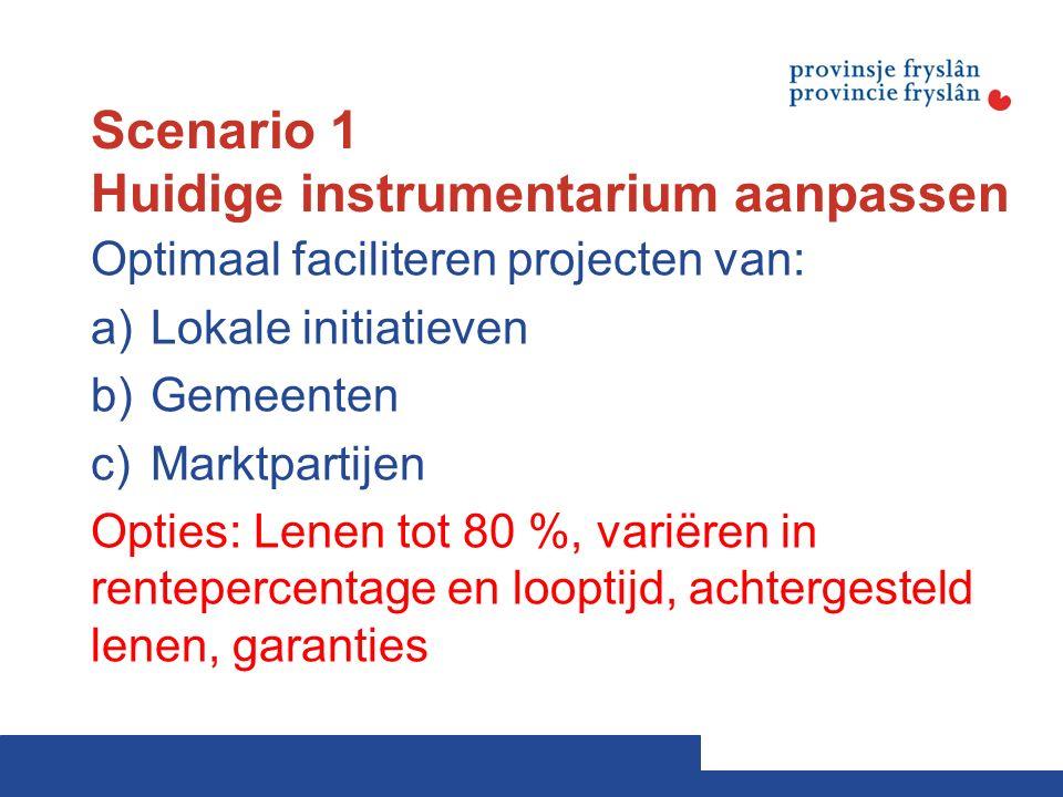 Scenario 1 Huidige instrumentarium aanpassen Optimaal faciliteren projecten van: a)Lokale initiatieven b)Gemeenten c)Marktpartijen Opties: Lenen tot 80 %, variëren in rentepercentage en looptijd, achtergesteld lenen, garanties
