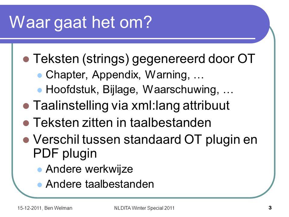 Taalbestanden Per taal drie taalbestanden String substitutie Sorteervolgorde index Speciale karakters 15-12-2011, Ben Welman 4 NLDITA Winter Special 2011