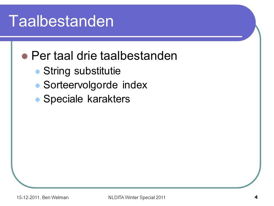 xml:lang attribuut Hiermee wordt taal vastgelegd: en-us (default), nl-nl, nl-be, de-de, … Bij voorkeur in root topic Voorbeeld Kan op elk element en op map, bookmap 15-12-2011, Ben Welman 5 NLDITA Winter Special 2011