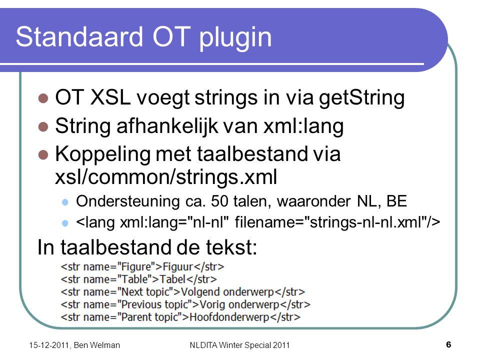 PDF plugin Andere werkwijze Gebruikt niet xsl/common templates Eigen taalbestanden voor strings in demo/fo/cfg/common/vars 7 talen: en, de, es, fr, it, jp, zh Demo/fo/cfg/common/vars/en_US.xml Of taalbestanden in Customization folder structuur (cfg/common/vars/) Geen NL bestanden.
