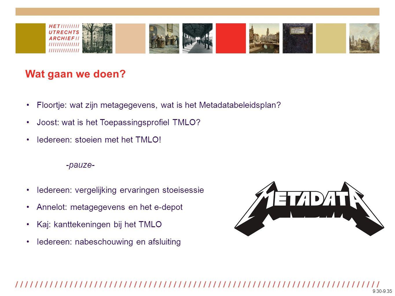 Wat gaan we doen. Floortje: wat zijn metagegevens, wat is het Metadatabeleidsplan.