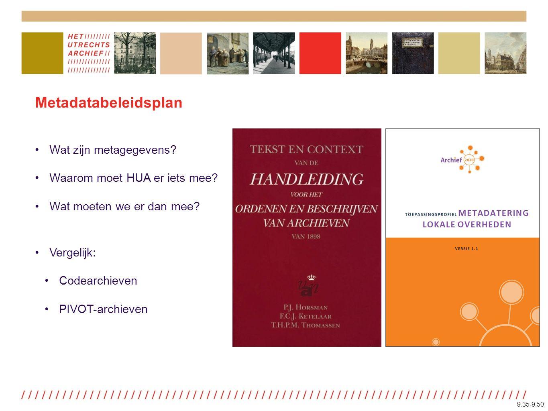 Metadatabeleidsplan Wat zijn metagegevens. Waarom moet HUA er iets mee.