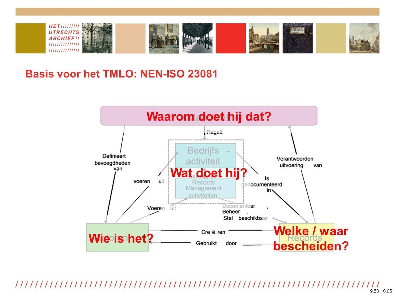 Het TMLO in Utrecht Kwaliteitssysteem Documentaire informatie 1 Organisatieverandering 2 Duurzaamheid 3 Opleidingen 4 Classificatie 5 Metagegevens 6 Informatiebeveiliging 7 Programmatuur 8 Informatieontwerp 9 Conversie en migratie 10 Vervanging 11 Vernietigen en bewaren Pilot e-depot Utrecht: actualisering Leidraad Metagegevens 9.50-10.05