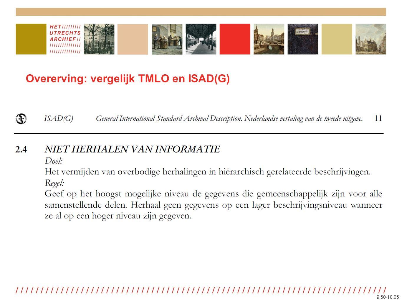Overerving: vergelijk TMLO en ISAD(G) 9.50-10.05