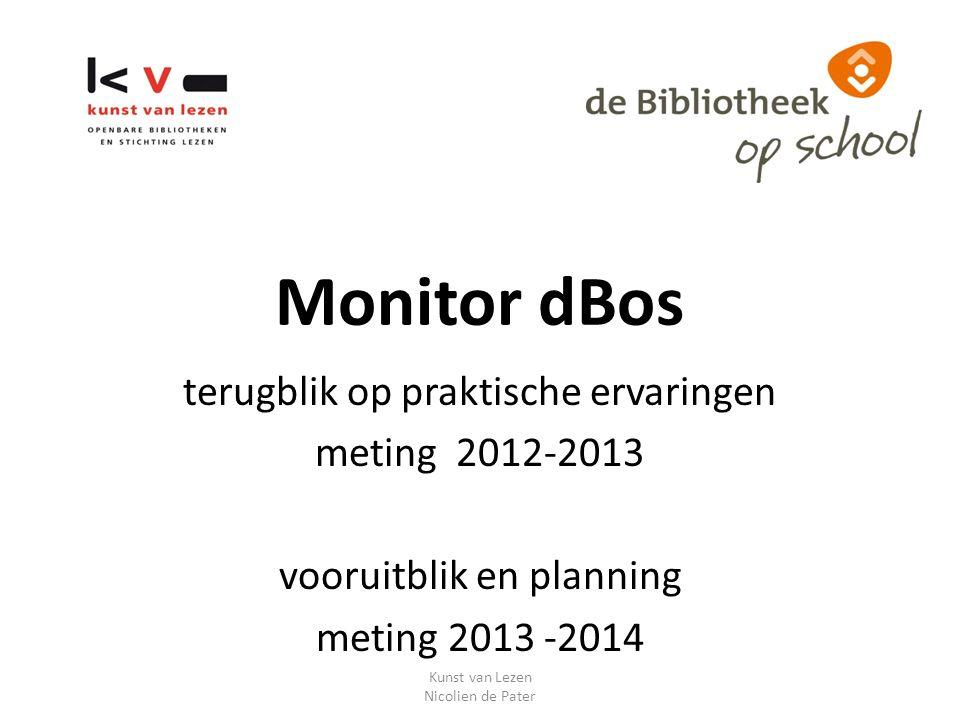 Monitor dBos terugblik op praktische ervaringen meting 2012-2013 vooruitblik en planning meting 2013 -2014 Kunst van Lezen Nicolien de Pater