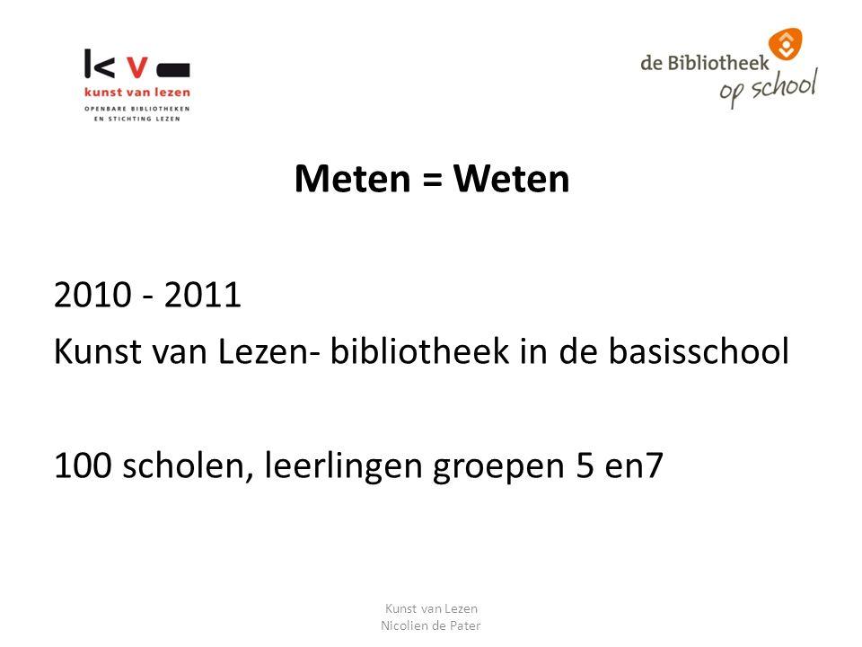 Meten = Weten 2010 - 2011 Kunst van Lezen- bibliotheek in de basisschool 100 scholen, leerlingen groepen 5 en7 Kunst van Lezen Nicolien de Pater