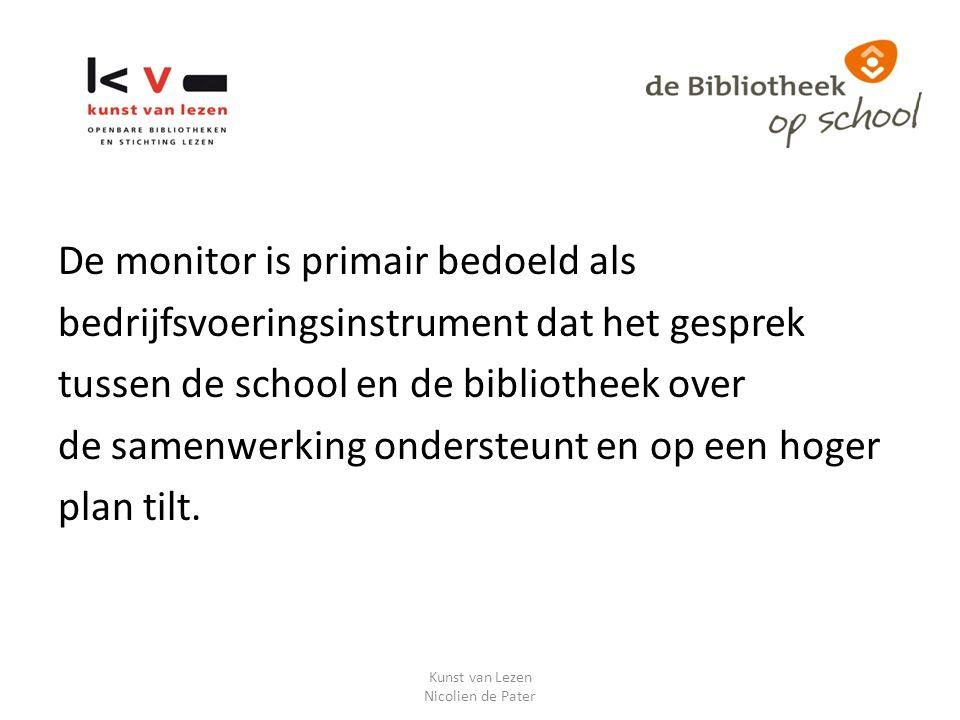 Deelnemers Monitor dBos Eerste meting 2011-2012 22 bibliotheken 74 scholen (groepen 4 – 8) Tweede meting 2012-2013 79 bibliotheken 300 scholen (groepen 4 -8) Kunst van Lezen Nicolien de Pater