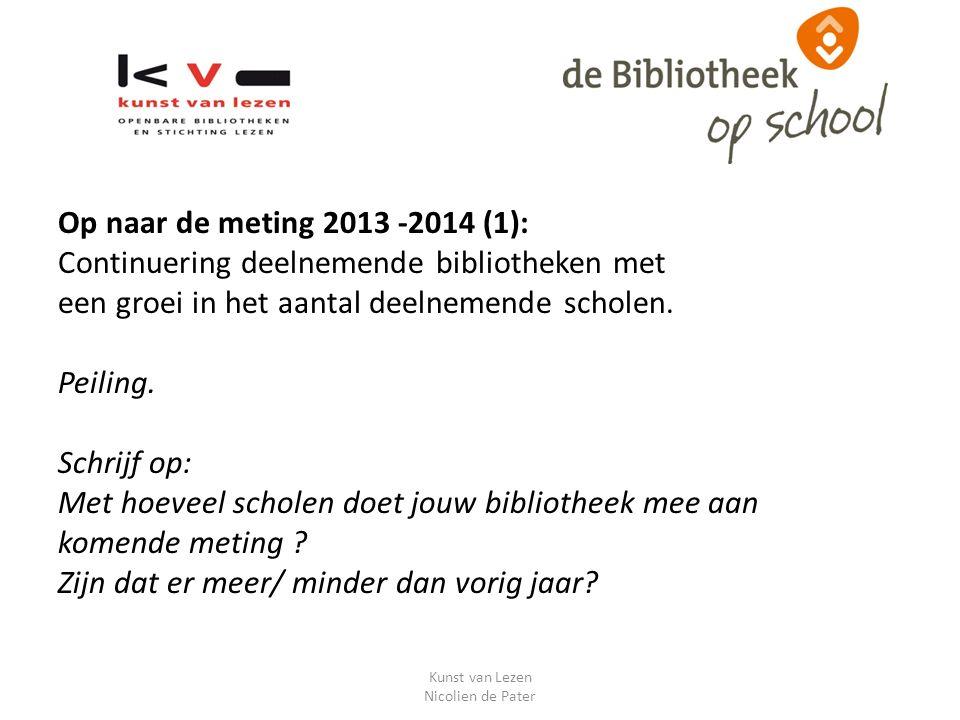 Op naar de meting 2013 -2014 (1): Continuering deelnemende bibliotheken met een groei in het aantal deelnemende scholen.