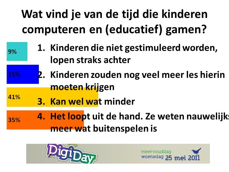 Wat vind je van de tijd die kinderen computeren en (educatief) gamen.
