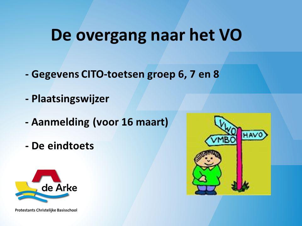 De overgang naar het VO - Gegevens CITO-toetsen groep 6, 7 en 8 - Plaatsingswijzer - Aanmelding (voor 16 maart) - De eindtoets