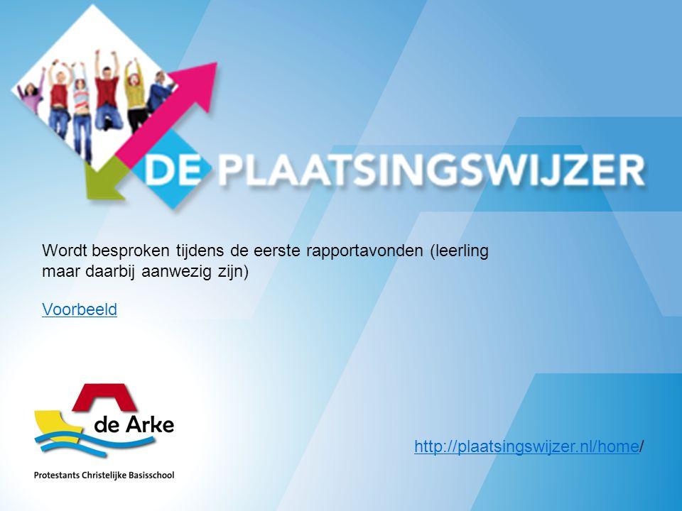 http://plaatsingswijzer.nl/homehttp://plaatsingswijzer.nl/home/ Wordt besproken tijdens de eerste rapportavonden (leerling maar daarbij aanwezig zijn) Voorbeeld