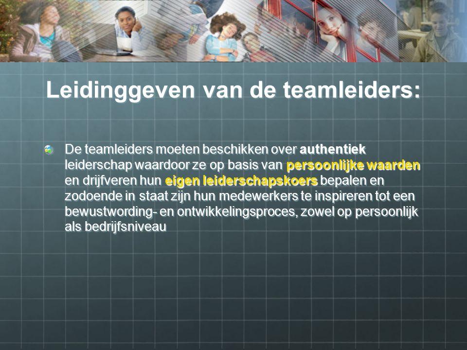 Leidinggeven van de teamleiders: De teamleiders moeten beschikken over authentiek leiderschap waardoor ze op basis van persoonlijke waarden en drijfveren hun eigen leiderschapskoers bepalen en zodoende in staat zijn hun medewerkers te inspireren tot een bewustwording- en ontwikkelingsproces, zowel op persoonlijk als bedrijfsniveau